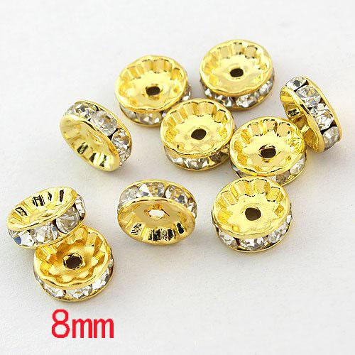 top popular Free shipping HOT DIY 8mm White ( B Rhinestone ) Crystal spacer Beads Jewelry Findings Gold Plated 2021