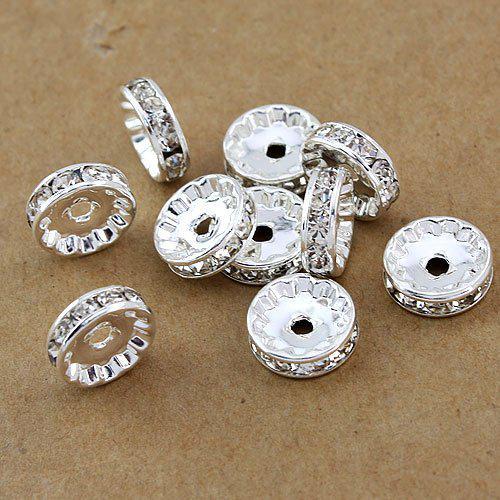 Gratis frakt Hot DIY 10mm vit b rhinestone kristall spacer pärlor smycken fynd silverpläterad