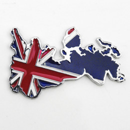 Wholesale Flag Car Decals - Wholesale 3D Metal union jack British Flag Stickers Decals For Car Car styling