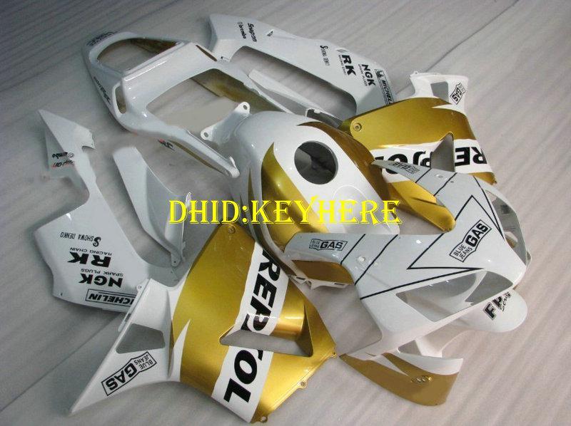 Injeção branco / kit de carenagem repsol ouro para HONDA CBR 600RR2003 2004 CBR600RR 03 04 carenagens de corpo F5