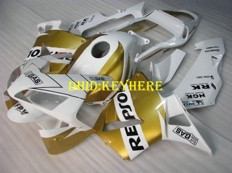 Injectie Wit / Gouden Repsole Fairing Kit voor Honda CBR 600RRR2003 2004 CBR600RR 03 04 F5 Body Farlings