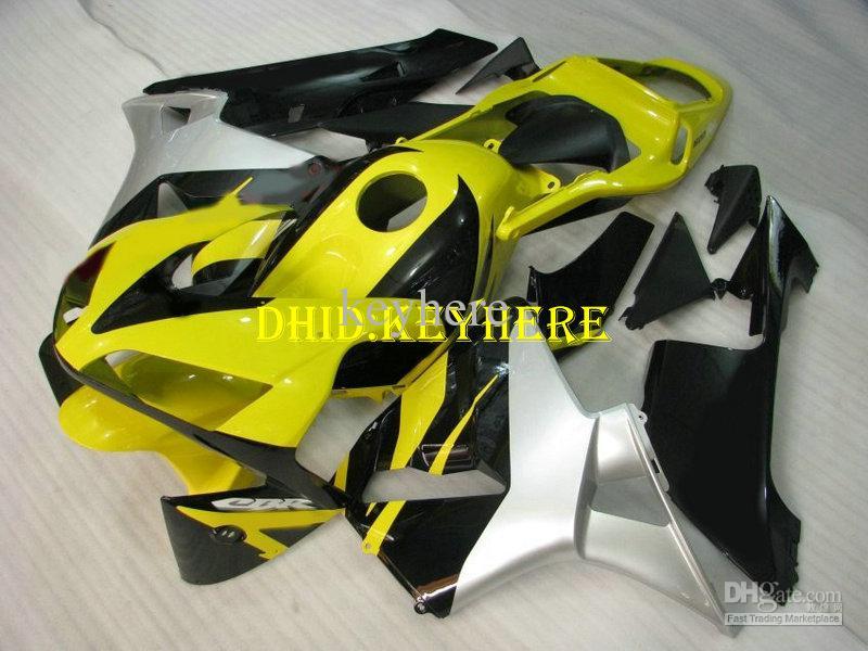 A carenagem preta amarela feita sob encomenda do ABS da injeção para HONDA 2003 2004 CBR 600RR 03 04 carenagens de CBR600RR F5