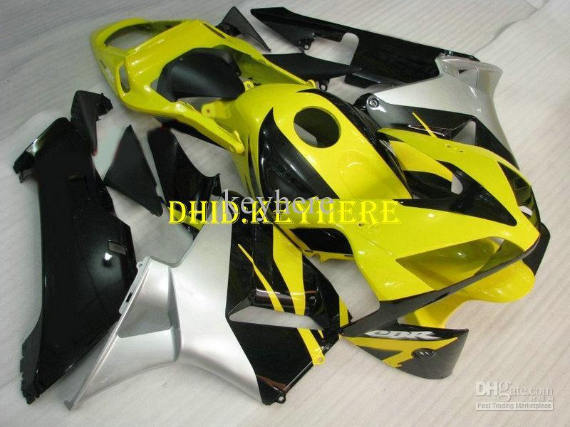 Injektion Custom Yellow Black ABS Fairing för Honda 2003 2004 CBR 600RR 03 04 CBR600RR F5 Fairings