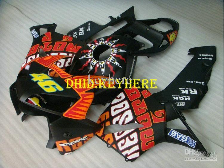 Injektion Matte Black Repsol Fairings Set för Honda 2005 2006 CBR 600RR 05 06 CBR600RR F5 Kroppssatser