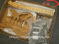 Wholesale Electric Guitars Kits - ST elm guitar body Unfinished Electric Guitar Kit With Flamed Maple Top with Dual Humbuckers