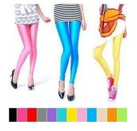 2016 Sexy / multicolour neon leggings godis färg elastisk storlek täta byxor pantyhose ankel längd trus