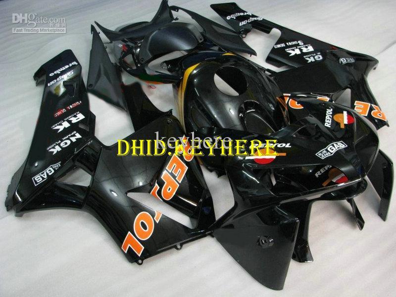 Honda 2005 2006 CBR600 RR CBR600RR 05 06 F5ボディキットのための注入ブラックレプリカABSレーシングフェアリング