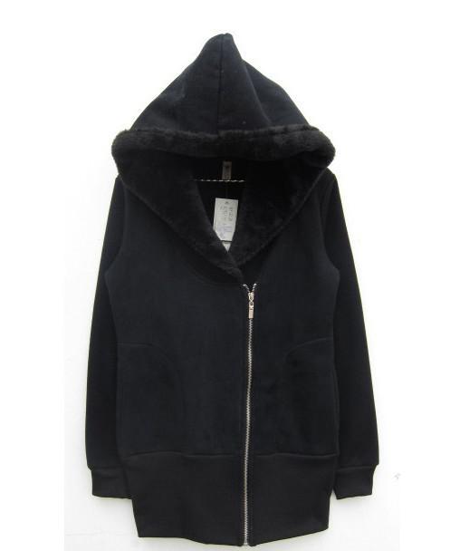 長い厚さのフリースの女性の女性のパーカーのスウェットシャツのジッパースリムフィット暖かい衣服のアウター