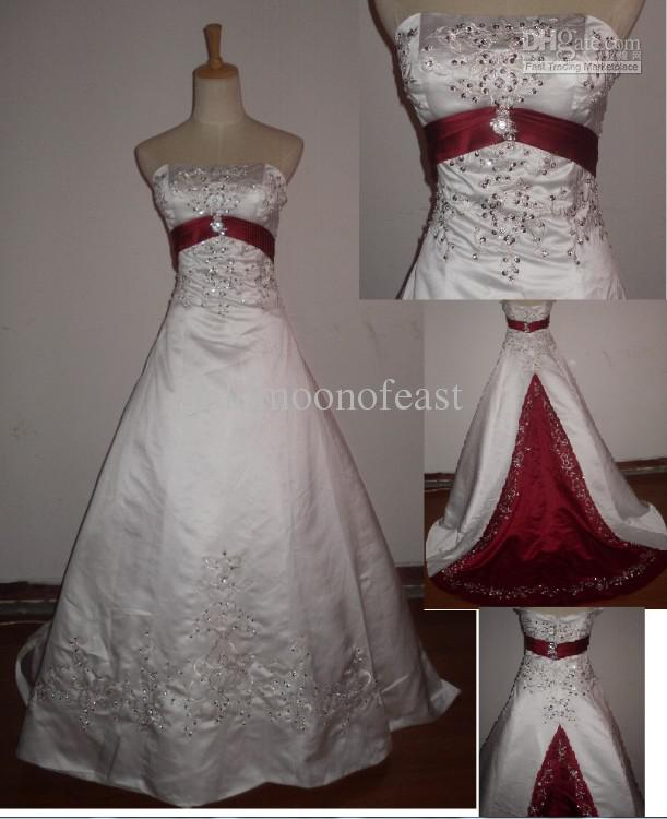 Discount Sexy White And Red Strapless Embroidery Beads Satin A