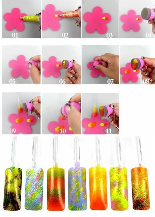 NEU Nail Stamping Schwamm Kit DIY Regenbogen Nail Art Stempelset mit 5 Ersatzschwämmen FUN EASY