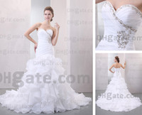 Wholesale Semi Mermaid Wedding Dresses - Wedding Dresses Organza Sweetheart Mermaid Semi-cathedral Train Bridal Gowns Real Actual Image