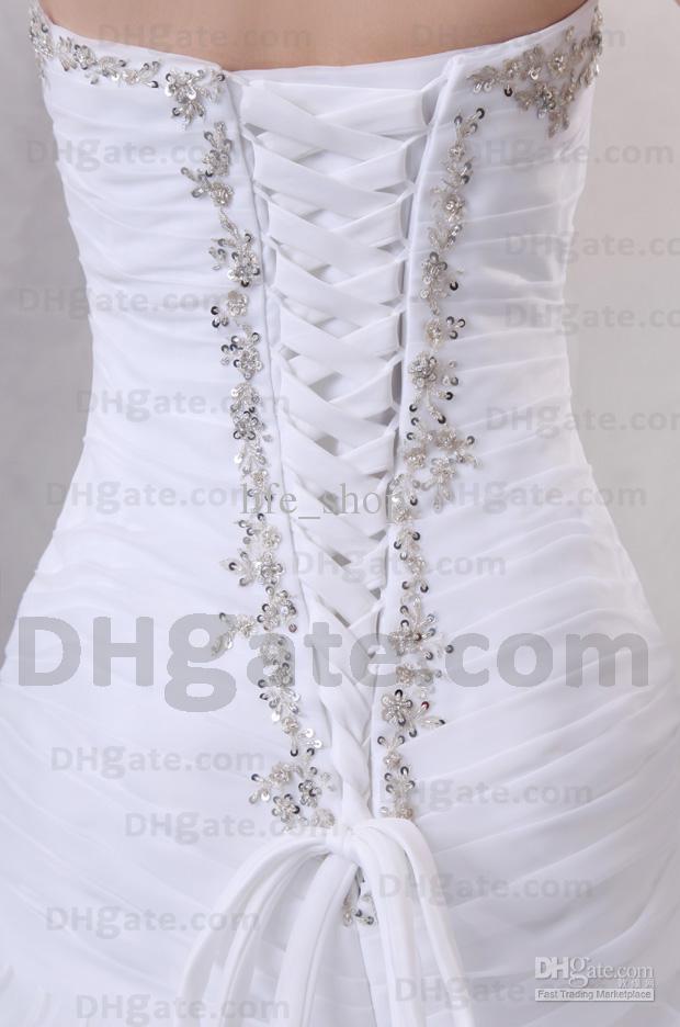Vestidos de novia Organza Sweetheart Sirena Semi-catedral tren Vestidos de novia Real Imagen real