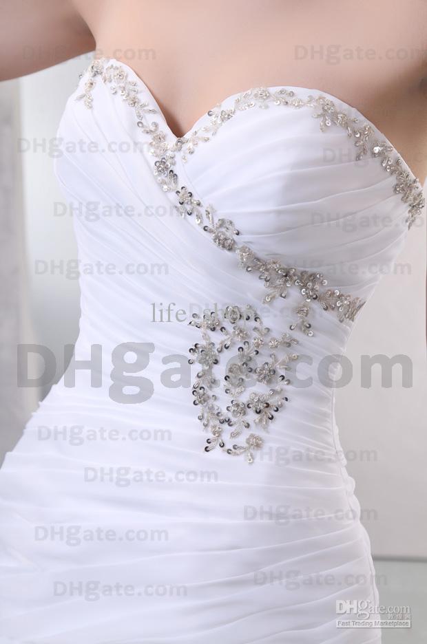 Bröllopsklänningar Organza Sweetheart Mermaid semi-katedral tåg brudklänningar riktigt verklig bild