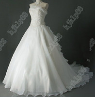 Wholesale Dresse Bride - Actual Images NEW Ball Gown Strapless Pleated Ruffles Organza Wedding Dresse Bride dress Gowns