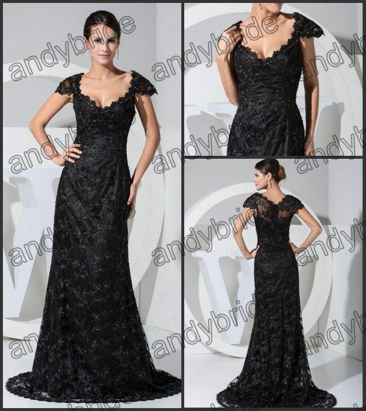 Off The Shoulder Elegant Black Lace Evening Prom Dresses Gowns ...