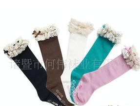 2012 calze alte del ginocchio delle calze della ragazza del pizzo di colore solido del cotone della Corea 3571