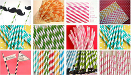 $enCountryForm.capitalKeyWord Canada - 500pcs mixed striped and Polka Dot Drinking Paper Straws,Drinking straws for party favor 124 colors
