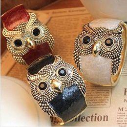 Coruja algemas pulseiras on-line-Moda coruja pulseiras liga enemal mulheres cuff bangle pulseira mix cores barato frete grátis