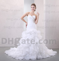 vestidos de casamento em organza em camadas venda por atacado-Nova chegada !! 2019 frisado branco trem longo beleza muitas camadas Organza vestido de noiva vestido de noiva WD027
