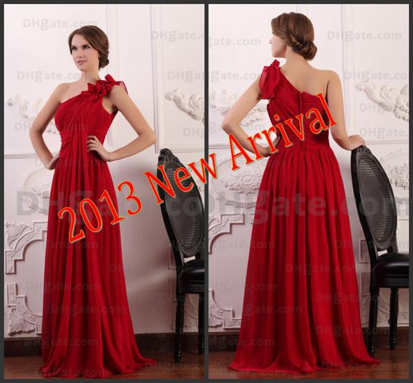Vestido Festa Curto Requintados Grego Clássico Da Deusa Vestidos De Noite Vermelho De Um Ombro Fluindo Chiffon Partido Vestidos Formais Para Mulheres