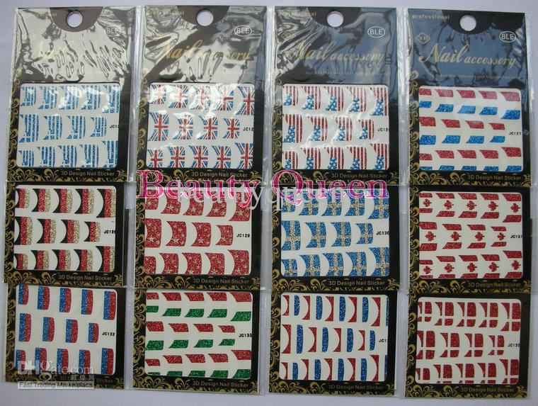 Milli Bayrak Tasarım Nail Art Glitter Fransız Sticker çıkartma İpucu İpuçları sarar Yama Kore Dekorasyon YENİ