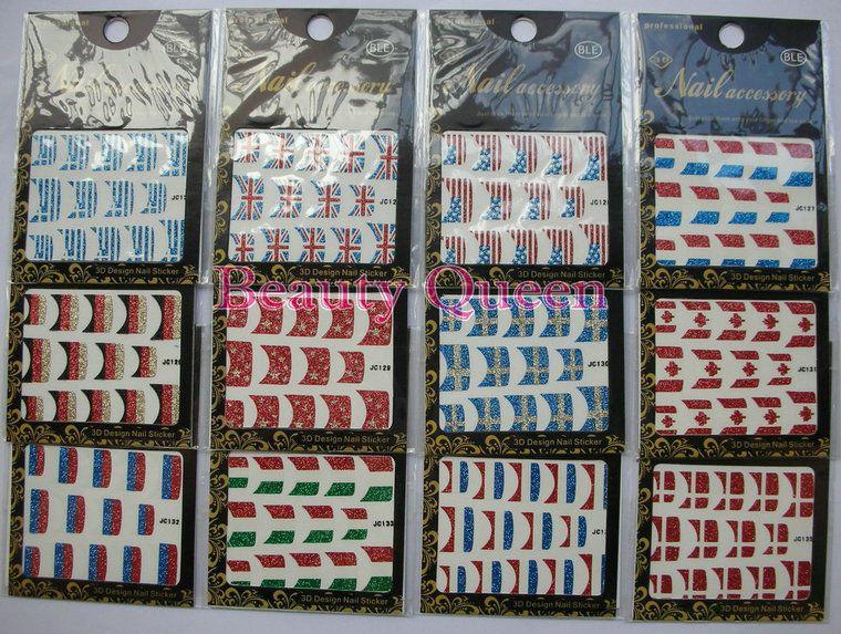 National Flag Design Nagel-Kunst-Funkeln Französisch Sticker Aufkleber Tip Tipps Wraps Patch Korea Dekoration NEU