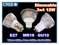 Promoção ~ <b>Retail High power CREE</b> 12W 4x3W Dimmable GU10 / MR16 / E27 Led Light Lamp Spotlight led bulb