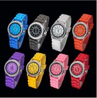 Wholesale Sport Fashin - 50pcs lot Fashin Geneva Crystal Diamond Jelly Silicone Watch Unisex Quartz Candy Watches