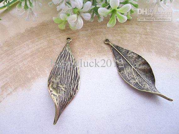 Joyería collar de plata de hojas de bronce antiguo de la vendimia / antiguo pendiente pendiente de la pulsera del encanto de accesorios hechos a mano /