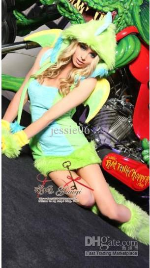Påsk dam sexig plysch furry dinosaur kostymer cosplay häxor gotiska skönheter nattklubb ds djurkläder