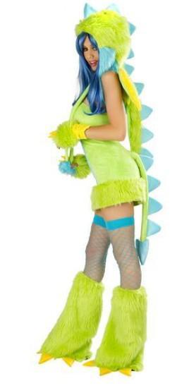 イースターレディセクシーな豪華な毛皮の恐竜衣装コスプレ魔女ゴシック美しさナイトクラブDS動物アパレル