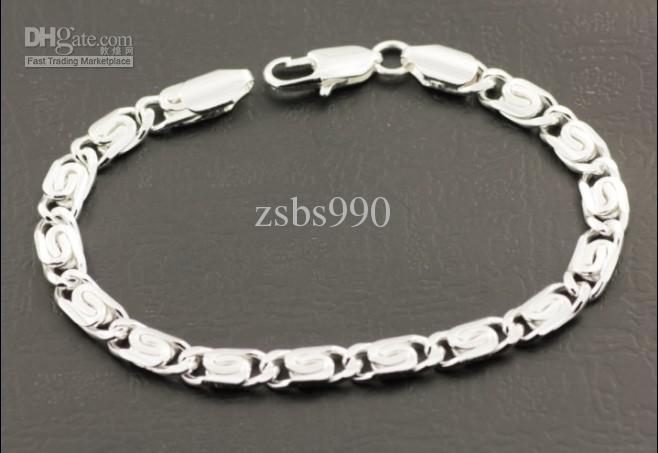 Brand New Quality 5mm 8inches 925 Silver Charm Bracelet Bracelet Hommes Bijoux Livraison Gratuite