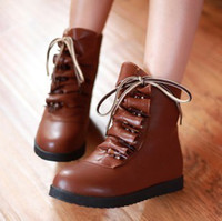 Wholesale Leather Nose Hook - factory price hot seller autumn women boot round nose lace up inner height short women girl boot