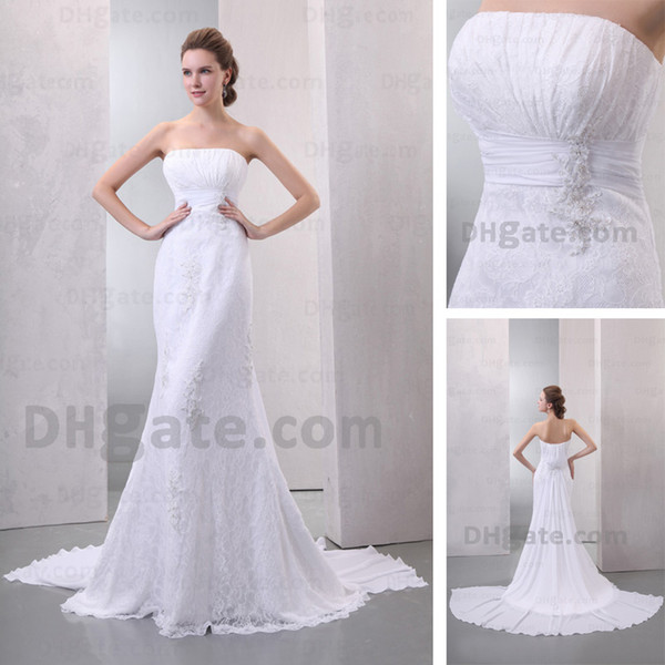 Ivory White Wedding Dresses 2015 Strapless Mermaid Lace Chapel Train Chiffon Beaded Bridal Gowns Real Actual Image DHYZ 02