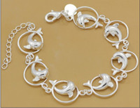 Wholesale Dolphin Bracelets - High quality 8inches 925 silver dolphin charm bracelet Christmas gift jewelry free shipping 10pcs