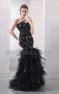 Hot Arrival 2015 Sexy Black Lace With Tulle Lace Good Design Mermaid Evening Dresses Prom Party Gown ED023 on Sale