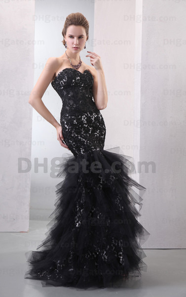 Hot Arrival 2015 Sexy Black Lace With Tulle Lace Good Design Mermaid Evening Dresses Prom Party Gown ED023