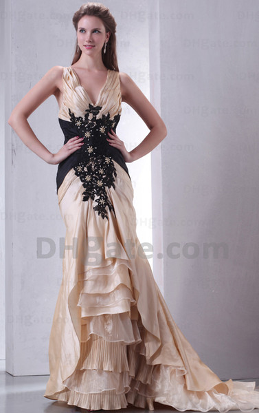Elegant Modest 2015 New V-neck Gold Satin Black Lace Appliques Mother Of Bride Dresses Evening Gown MD012