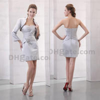 Wholesale dark beauty dress - Promotion !! 2015 Silver Satin With Beauty Jacket Short Beaded Mother Of Bride Dresses With Zipper MD011