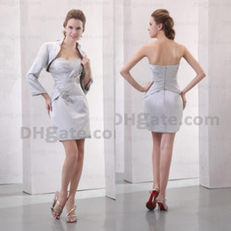 Wholesale short white mother bride dress - Promotion !! 2015 Silver Satin With Beauty Jacket Short Beaded Mother Of Bride Dresses With Zipper MD011