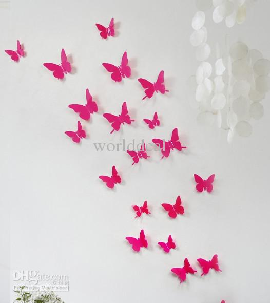 5cm 3d vivid butterfly wall sticker art decor pop up sticker home wedding room decoration 3d wall sticker home decoration butterfly online with 8307piece - Room Decor 3d