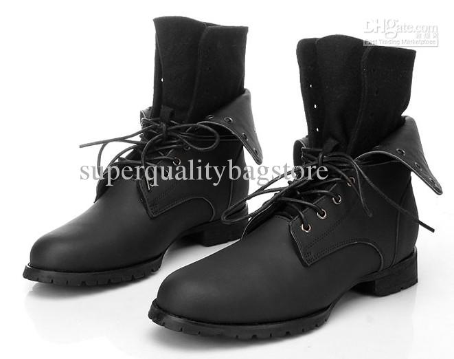 Cheap Genuine Leather Men's Ankle Boots,Black Lace Up Outdoor ...