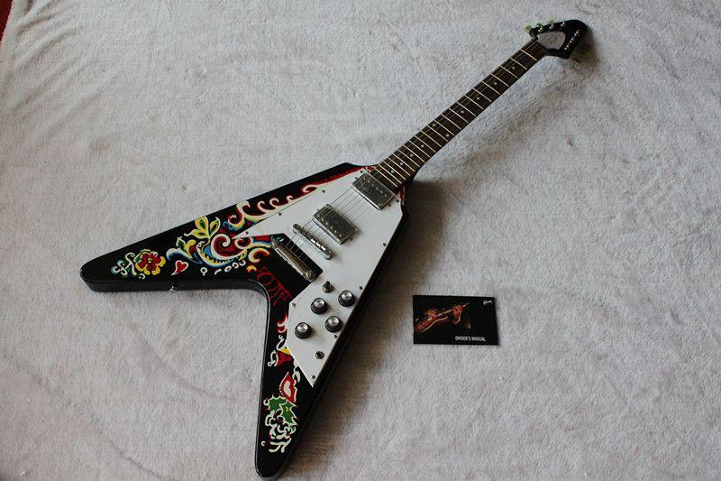 flying v electric guitar beautiful flowers guitar best selling oem musical instruments electric. Black Bedroom Furniture Sets. Home Design Ideas