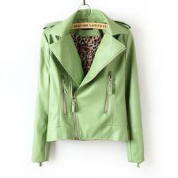 Wholesale Green Pu Leather Jacket - Women's fashion motorcycle jacket Oblique zipper collar coat jacket PU Leather Jacket Lady Coat