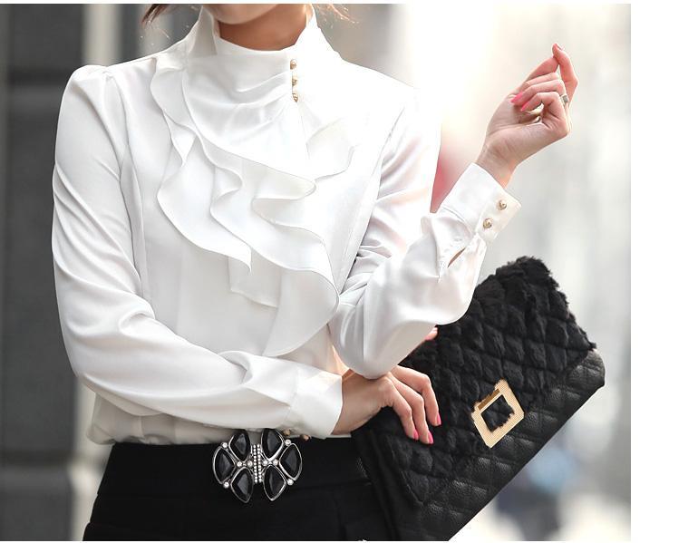 뜨거운 여성 패션 우아한 인조 실크 스탠드 칼라 푹신한 퍼프 슬리브 탑 셔츠 보라색 / 카키 / 화이트