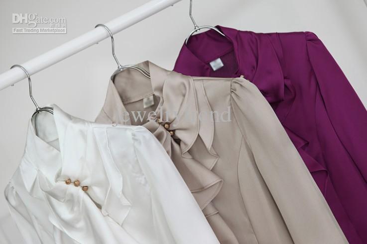 Chaud Femmes Mode Elegant Faux Soik Soik Stand Collier Housses Puffle Housses De Chemise Violet / Khaki / Blanc