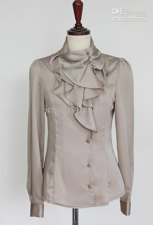 Hot Womens Moda Elegante Faux Silk Stand Collar Ruffled Slow Slow Tops Camisa Roxo / Khaki / Branco