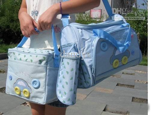 Vattentät blöja Förvaringsväska Bildesignvagn Bag / Mammy Väska / Nappy Väska inkluderar flaskväskor Messenger Bag