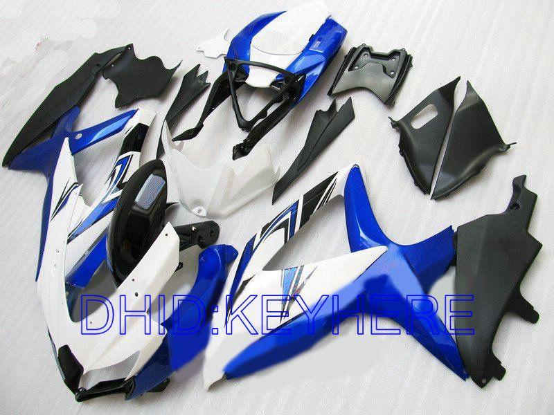 Blanco / azul ABS racing Carenado para SUZUKI GSXR600 GSXR750 2008 2009 GSX R750 R600 08 09 carenados