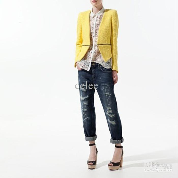 Women Blazer Jacket Zipper Detail Blazer Fashion Blazer No Button ...